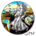 USA SALVADOR DALI - THE PERSISTENCE OF MEMORY - MODERN ART American Silver Eagle 2019 Walking Liberty $1 Silver coin Ruthenium plated 1 oz